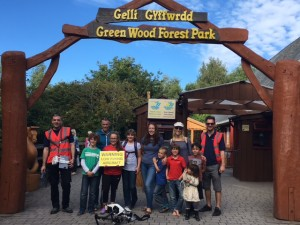 Group of people at entrance to GreenWood Forest Park